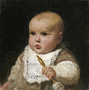 Art Prints of Infant with a Rattle, 1878 by Albert Anker