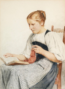 Art Prints of Knitting Girl Reading, 1907 by Albert Anker