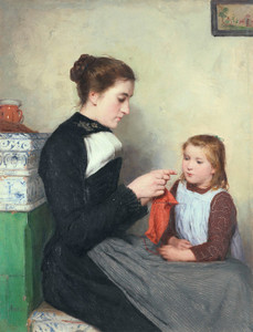 Art Prints of Knitting Woman with Child by Albert Anker