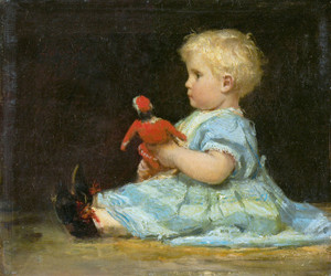 Art Prints of Marie Anker with Doll, 1873 by Albert Anker