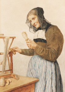 Art Prints of Old Woman with a Spindle, 1908 by Albert Anker