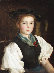 Art Prints of Portrait of a Girl in a Black Hat by Albert Anker