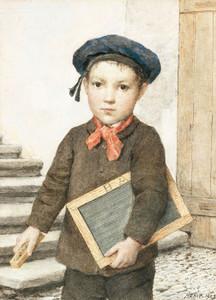 Art Prints of Schoolboy with Slate, 1909 by Albert Anker