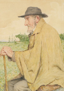 Art Prints of Seated Man with Stock, 1904 by Albert Anker