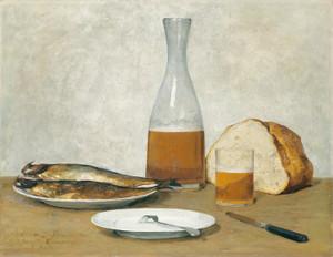 Art Prints of Still Life, Herring by Albert Anker