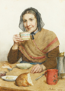 Art Prints of Sitting Peasant Woman with a Cup in Her Hand, 1909 by Albert Anker
