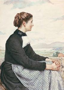 Art Prints of Sitting Farmers Girl, 1909 by Albert Anker