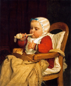 Art Prints of The Little Musician by Albert Anker