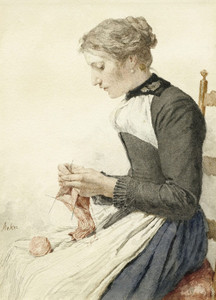 Art Prints of Young Woman Knitting by Albert Anker