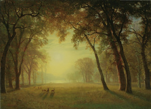 Art Prints of Deer in a Clearing, Yosemite by Albert Bierstadt