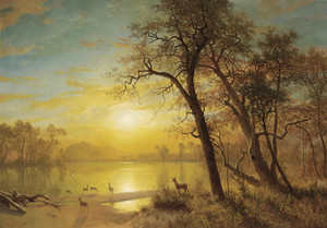 Art Prints of Mountain Lake by Albert Bierstadt