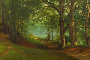 Art Prints of Path by a Lake in a Forest by Albert Bierstadt
