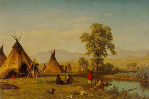 Art Prints of Sioux Village near Fort Laramie by Albert Bierstadt