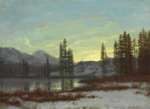 Art Prints of Snow in the Rockies by Albert Bierstadt