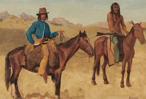 Art Prints of Trapper and Indian Guide in Horseback by Albert Bierstadt