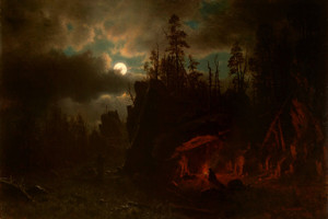 Art Prints of The Trapper's Camp by Albert Bierstadt
