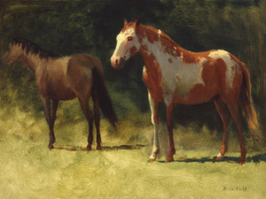 Art Prints of Two Horses by Albert Bierstadt