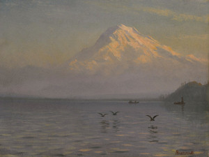 Art Prints of View of Mount Rainier with Fishermen by Albert Bierstadt