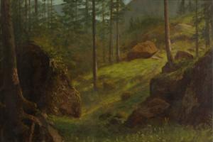 Art Prints of Wooded Hillside by Albert Bierstadt