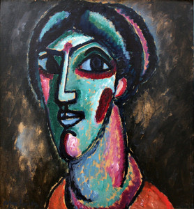 Art Prints of Head in Black and Green by Alexej Von Jawlensky