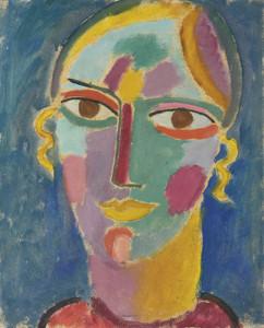 Art Prints of Female Head on a Blue Background by Alexej Von Jawlensky