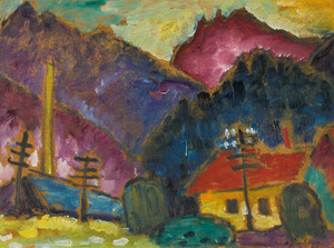 Art Prints of Small Landscape with Telegraph Masts by Alexej Von Jawlensky