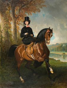 Art Prints of Baroness X or Amazon in Top Hat by a Pond by Alfred de Dreux