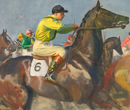 Art Prints of The Yellow Jockey by Alfred James Munnings