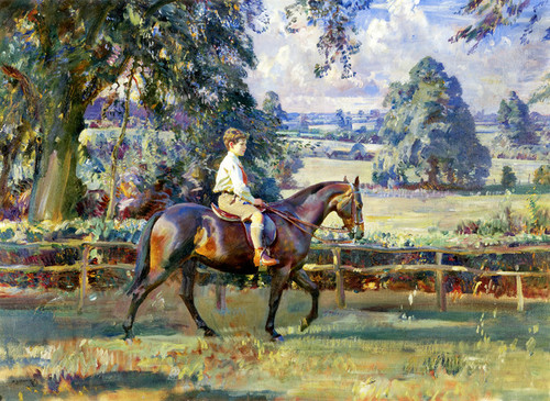 Art Prints of A Boy and His Pony, Daffern Seal on Canary by Alfred James Munnings