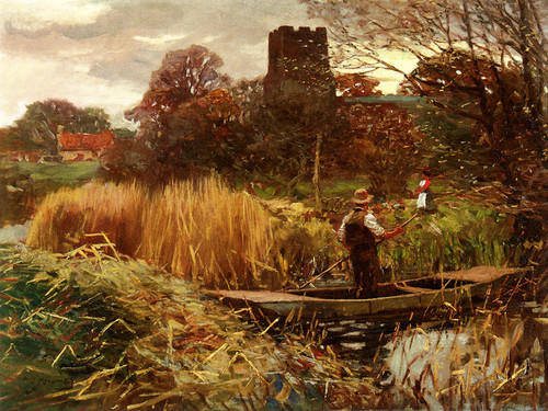 Art Prints of Reed Cutters of Mendham by Alfred James Munnings