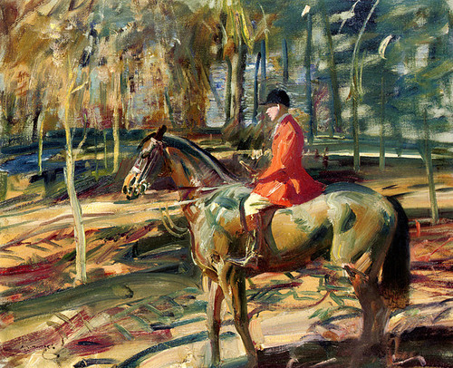 Art Prints of Winter Sunshine, Huntsman by a Cover by Alfred James Munnings