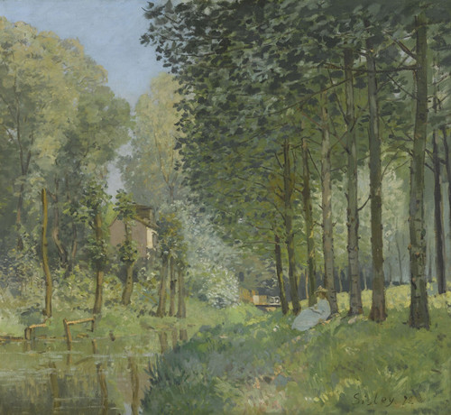 Art Prints of Rest Along the Stream Edge of the Wood by Alfred Sisley