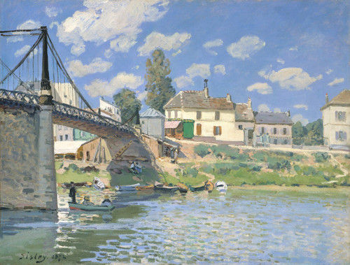 Art Prints of The Bridge at Villeneuve la Garenne by Alfred Sisley