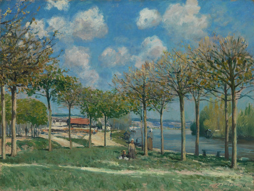 Art Prints of The Seine at Bougival by Alfred Sisley