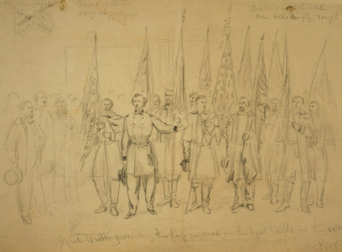Art Prints of Custer Presenting Flags, Last Battle (05946L) by Alfred Waud