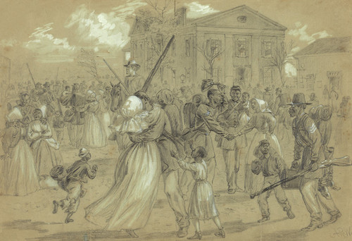 Art Prints of African American Soldiers at Little Rock (21005L) by Alfred Waud