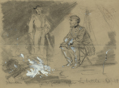 Art Prints of Sheridan Receiving Reports after the Battle (21296L) by Alfred Waud