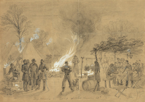 Art Prints of Thanksgiving in Camp 1861 (21210L) by Alfred Waud