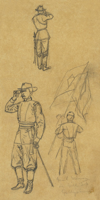 Art Prints of General Warren on Hill Top, Gettysburg, 1863 (21353L) by Alfred Waud