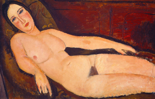 Art Prints of Nude on a Divan by Amedeo Modigliani