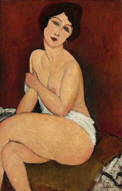 Art Prints of Nude Seated on a Couch by Amedeo Modigliani