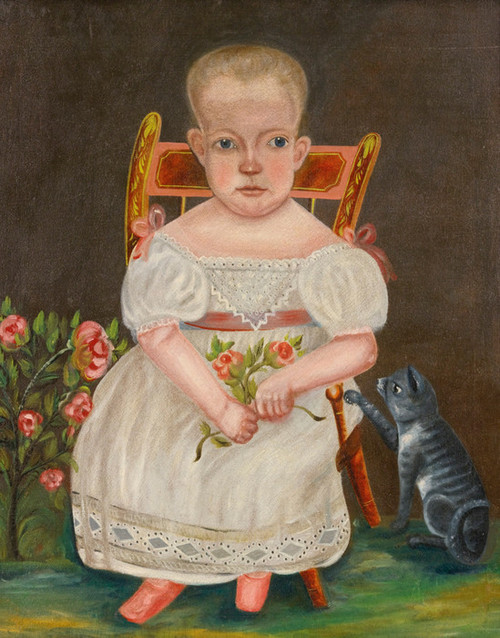 Art Prints of Baby Seated in a Chair with Her Cat, American School