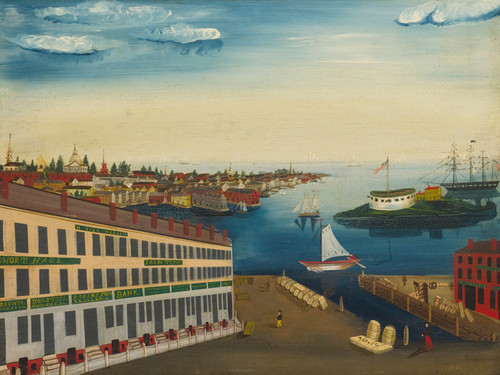 Art Prints of Fireboard with View of Boston Harbor, American School