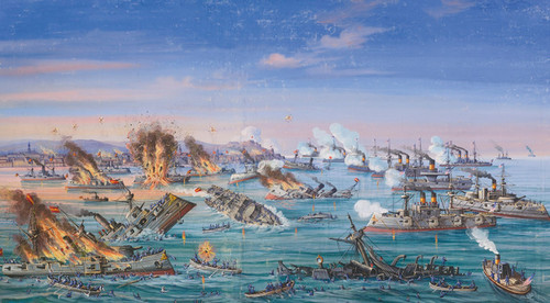 Art Prints of Sea Battle in the Bay of Manila, American School