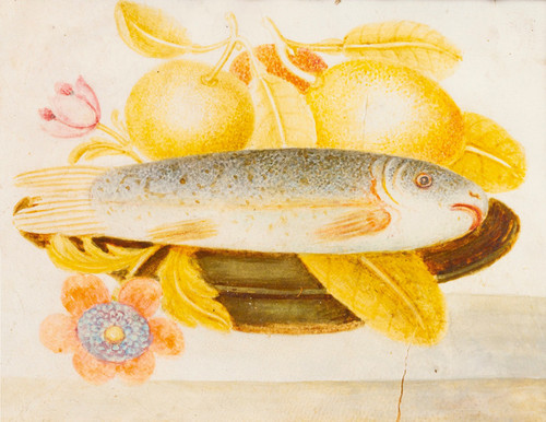 Art Prints of Still Life of Fish and Fruit on a Plate, American School