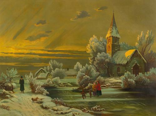 Art Prints of Winter Scene with a Church, American School