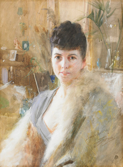 Art Prints of Lady with Fur Cap, 1887 by Anders Zorn