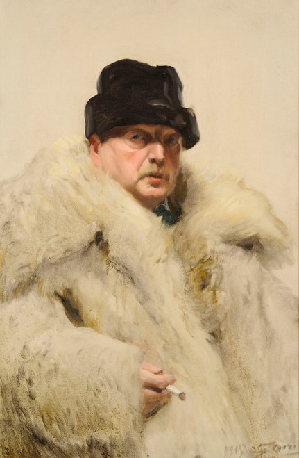 Art Prints of Self Portrait in a Wolf Skin Coat by Anders Zorn