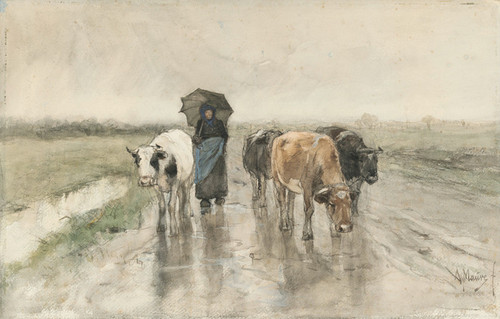 Art Prints of A Farmer with Cows on a Country Road in the Rain by Anton Mauve