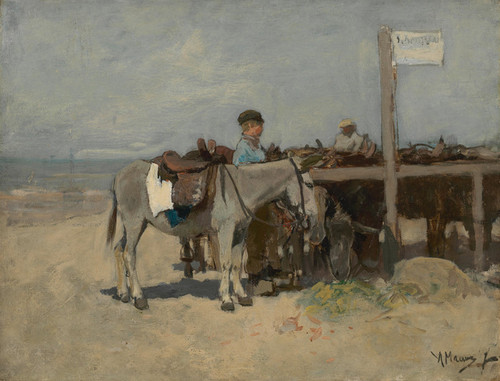 Art Prints of Donkey Stand on the Beach at Scheveningen by Anton Mauve